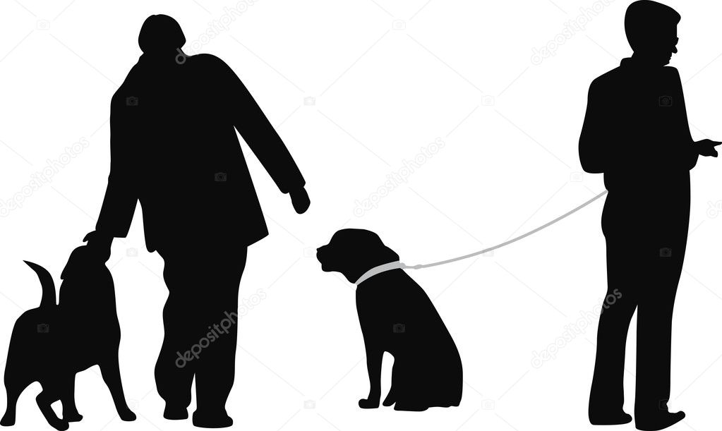 And dog are playing silhouette vector — Stock Vector #10703157