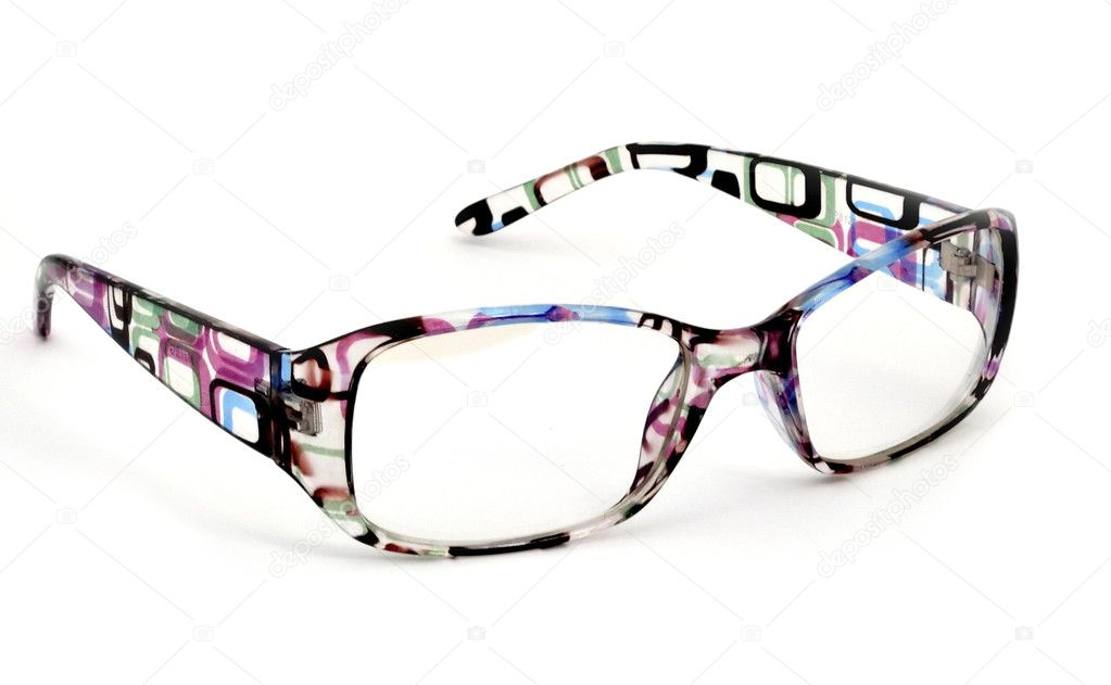 Modern glasses with reflection over white background  Stock Photo #10053092