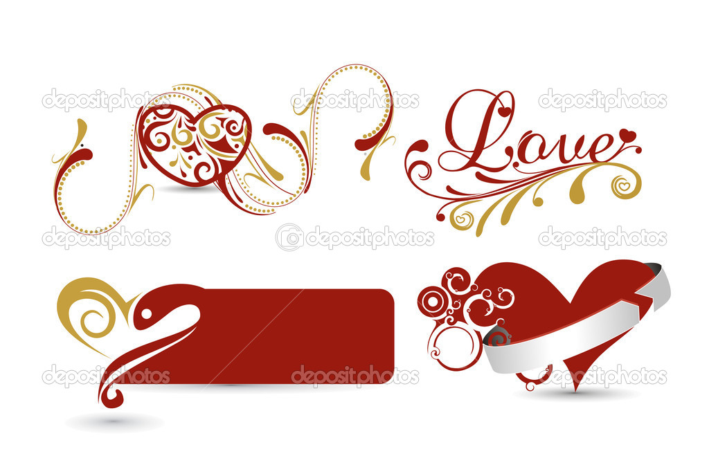 Collect valentines day banners with hearts and floral pattern element.  Stock Vector #8618410