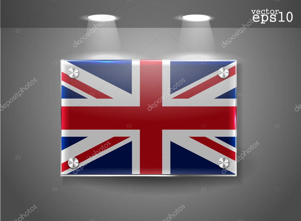 United Kingdom UK flag banner with spotlight, vector  Stock Vector #8618558