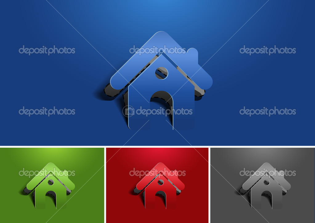 Set of paper cut home icon, vector element — Stock Vector #8843238