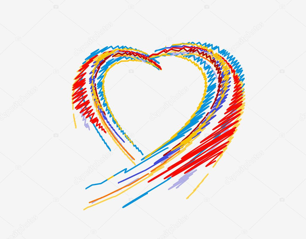 Rainbow colorful lines crossing each other on heart shape ,vector illustration — Stock Vector #8843369