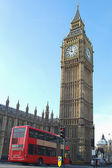 Big Ben with double decker bus in London — Stock Photo