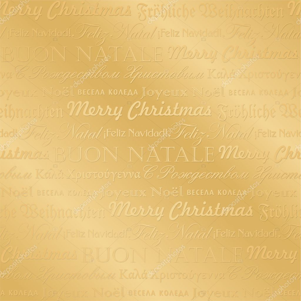 Seamless golden multilingual christmas pattern, perfectly tile-able both horizontally and vertically; scalable and editable vector illustration;  Stock Vector #8067884