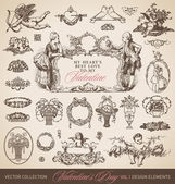 Antique valentines set (vector) — Vector de stock