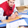 Real carpenter - Stock Photo
