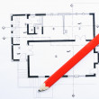 Closeup image of house construction plan — Stock Photo