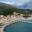 Aerial view of traditional Greek vilage Parga, Greece — Stock Photo
