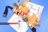 Different carpenter`s work tools — Foto Stock