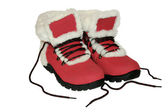 Red winter boots. — Stock Photo