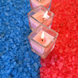 Candles on bath salt — Stock Photo