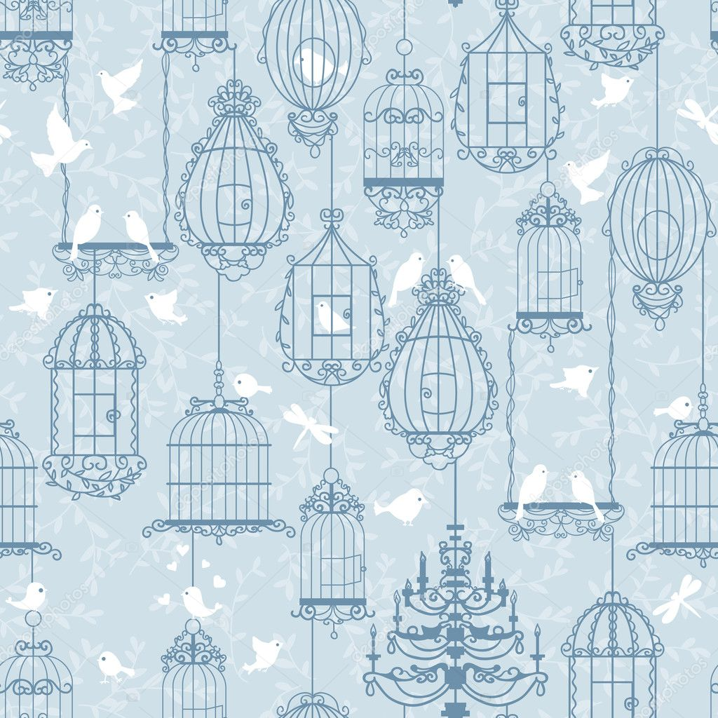 Birds and birdcages pattern. Blue colors. Can be used for wallpaper, background, fabrics. — Stock Vector #8442783