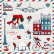 Paris travel icons — Stockvektor #9067911