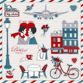 巴黎旅行图标 — 图库矢量图片