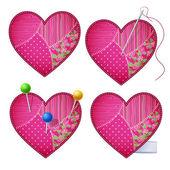 Fabric hearts — Stock Vector