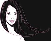 Visage de femme asiatique — Vecteur