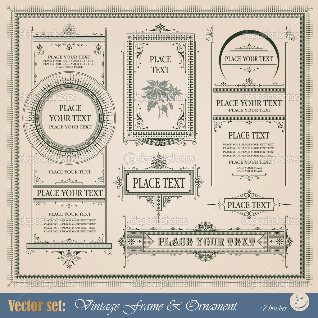Vintage frame, ornament and element for decoration and design — Stock Vector #8380900