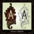Capitals and initials in the rococo style — Stock Vector