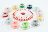 Multicolor sewing bobbin — Stock Photo