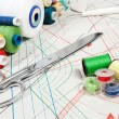 Stock Photo: Sewing background, metal scissors, multicolor threads