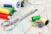 Sewing background, metal scissors, multicolor threads — Stock Photo