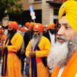 Sikh devotees at 2012 Baisakhi festival in Brescia - Stock Photo