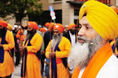 Sikh devotees at 2012 Baisakhi festival in Brescia — Stock Photo
