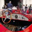 Red stanguellini Barchetta vintage car at 1000 Miglia vintage car race in Brescia — Stock Photo