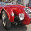 Постер, плакат: 1950 built red Healey Silverstone at 1000 Miglia vintage car race in Brescia