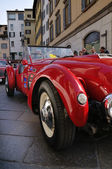 1950 built red Healey Silverstone at 1000 Miglia vintage car race in Brescia — Stock Photo
