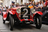 1927 built red OM Superba at 1000 Miglia vintage car race in Brescia — Stock Photo