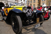 1930 built yellow Bugatti Type 40A at 1000 Miglia vintage car race in Brescia — Stock Photo