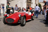 1951 built red Ermini Siluro Sport at 1000 Miglia vintage car race in Brescia — Stock Photo