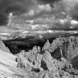 View over Passo Gardena in the Dolomiti - black and white — Stock Photo
