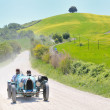 Постер, плакат: A 1925 built light blue BUGATTI Type 35 at 1000 Miglia vintage car race