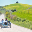 Постер, плакат: A 1925 built light blue BUGATTI Type 35 A at 1000 Miglia vintage car race
