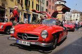 1955 built red MERCEDES-BENZ 300 SL W198-I at 1000 Miglia vintage car race in Brescia — Stock Photo