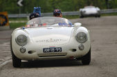 Prince Van Oranje Nassau driving a 1955 built white PORSCHE 550-1500 RS vintage car at 1000 Miglia vintage car race — Stock Photo