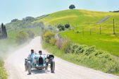 A 1925 built light blue BUGATTI Type 35 at 1000 Miglia vintage car race — Stock Photo