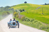 A 1925 built light blue BUGATTI Type 35 A at 1000 Miglia vintage car race — Stock Photo