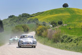 1955 built silver PORSCHE 356 Pre-A coupe 1500 at 1000 Miglia vintage car race — Stock Photo