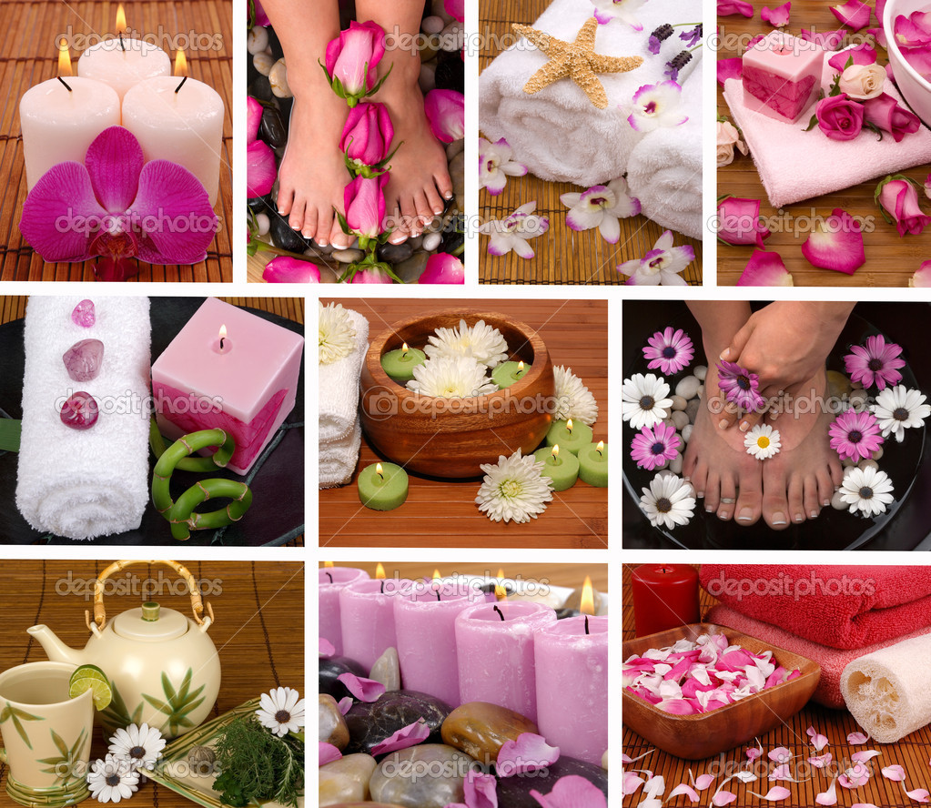 Spa collage with aromatherapy, pedicure and massage — Stock Photo #10125547