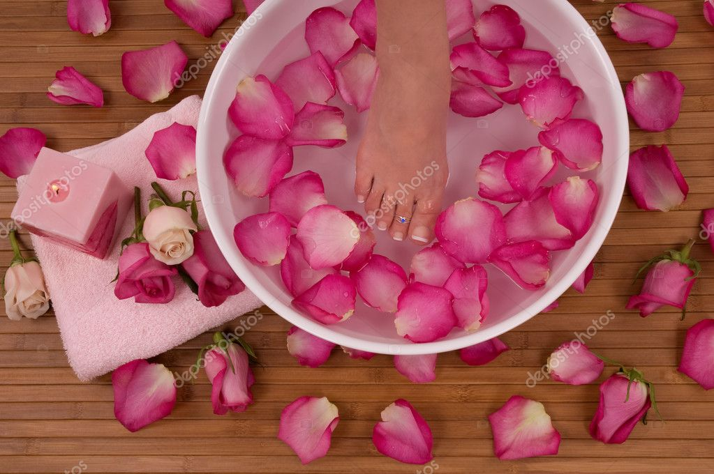 Spa Treatment with aromatic roses, petals, and candle  Stock Photo #9037145