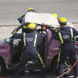 图库照片: Rescue Team trying to rescue an accident victim
