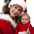 Mom and Baby Santa — Stock Photo