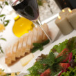 Salad and Wine — Stock Photo