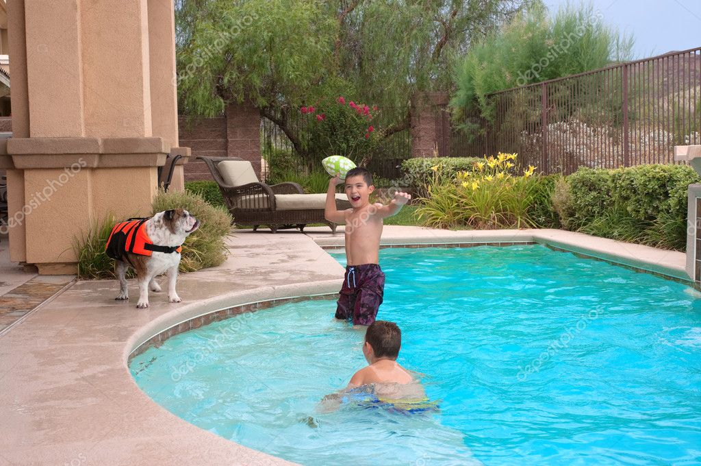 Kids and their pet bulldog playing in the pool — Stock Photo #9278972