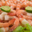 Gourmet large shrimp cocktail with cocktail sauce, lime and lettuce - ストック写真