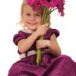 Little Girl and Flowers — Stock Photo