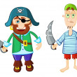 Funny cartoon pirates — Stock Vector